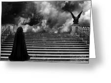 Surreal Gothic Infrared Black Caped Figure With Gargoyle On Paris Steps Greeting Card
