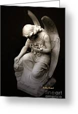 Surreal Sad Angel Kneeling In Prayer Greeting Card