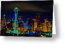 Surreal Seattle Skyline Greeting Card