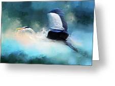 Surreal Stork In A Storm Greeting Card