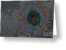 Surreal Sunflower And Bee Greeting Card