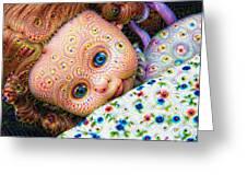 Surreal Trippy Deep Dream Doll Greeting Card