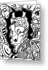 Surrealism Pagan Black And White Greeting Card