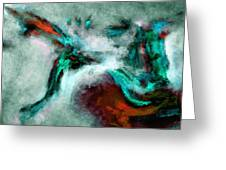 Surrealist And Abstract Painting In Orange And Turquoise Color Greeting Card