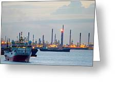 Survey And Cargo Ships Off The Coast Of Singapore Petroleum Refi Greeting Card