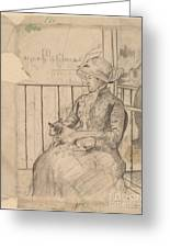 Susan On A Balcony Holding A Dog [recto] Greeting Card