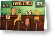 Sushi Bar Darker Tone Image Greeting Card