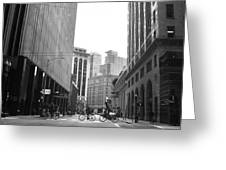 Sutter Street Cyclists - San Francisco Street View Black And White  Greeting Card