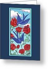 Swallows And Roses Greeting Card