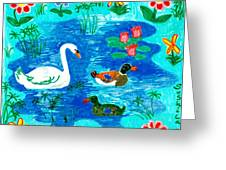 Swan And Two Ducks Greeting Card by Sushila Burgess