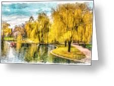 Swan Boats Boston Public Garden Greeting Card
