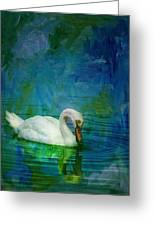 Swan On A Blue And Green Lake Greeting Card
