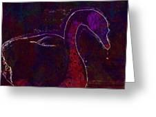 Swan Silhouette Drop Of Water  Greeting Card