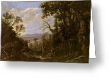 Swanevelt, Herman Van Woerden, 1603 - Paris, 1655 Landscape With Hermit Bound In Chains 1634 - 1639. Greeting Card
