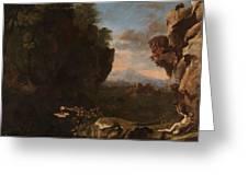 Swanevelt, Herman Van Woerden, 1603 - Paris, 1655 Landscape With Saint Benedict Of Nursia 1634 - 163 Greeting Card
