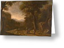 Swanevelt, Herman Van Woerden, 1603 - Paris, 1655 Landscape With Travellers And A Shepherd 1635 - 16 Greeting Card