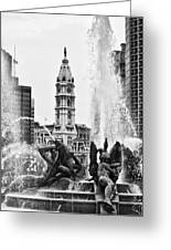 Swann Memorial Fountain In Black And White Greeting Card