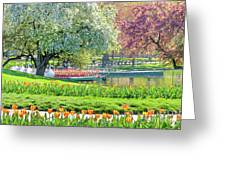 Swans And Tulips 1 Greeting Card