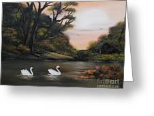 Swans At Dusk.for Sale Greeting Card