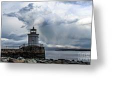 Sweeping Clouds Over Bug Light Greeting Card