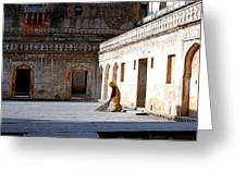 Sweeping Inside Of Amber Palace Greeting Card