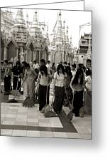 Sweeping The Shwedagon Floor Greeting Card