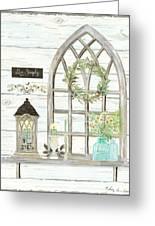 Sweet Life Farmhouse 3 Gothic Window Lantern Floral Shiplap Wood Greeting Card