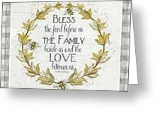 Sweet Life Farmhouse 4 Laurel Leaf Wreath Bee Bless This Food Greeting Card