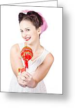 Sweet Lolly Shop Lady Offering Over Red Lollipop Greeting Card