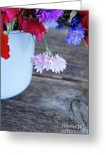 Sweet Pea And Corn Flowers Greeting Card