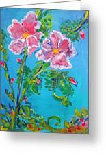 Sweet Pea Flowers On A Vine Greeting Card