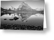 Swift Current Lake Reflection Black And White  Greeting Card