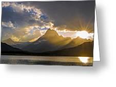 Swiftcurrent Lake Sundown Glacier N P Greeting Card