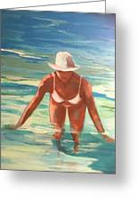 Swimmer In Blue Greeting Card