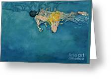 Swimmer In Yellow Greeting Card