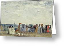 Swimmers On Trouville Beach Greeting Card