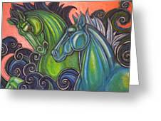 Swimming Horses  Greeting Card