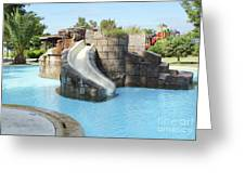 Swimming Pool With Slide For Children Greeting Card