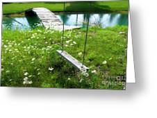 Swing In The Daisies With Bridge Greeting Card