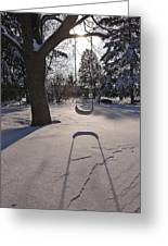 Swing Shadow On Snow Greeting Card