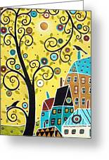 Swirl Tree Two Birds And Houses Greeting Card
