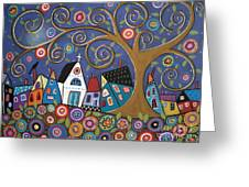 Swirl Tree Village Greeting Card