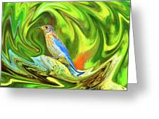 Swirling Bluebird Abstract Greeting Card