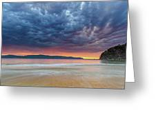 Swirling Cloudy Sunrise Seascape Greeting Card
