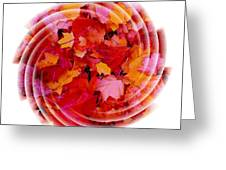 Swirling Colored Leaves Greeting Card