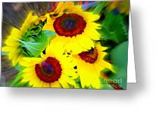 Swirling Sunflowers Greeting Card