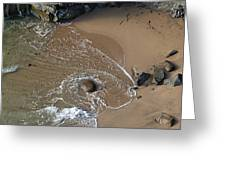 Swirling Surf And Rocks Greeting Card by Charlene Mitchell