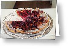 Swiss Custard Tart With Sour Cherries Greeting Card