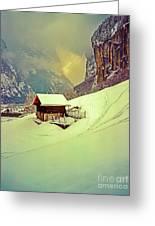 Switzerland Alps Grutschap Alpine Meadow Winter  Greeting Card