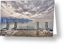 Switzerland, Montreux, Dock On The Lake. Greeting Card